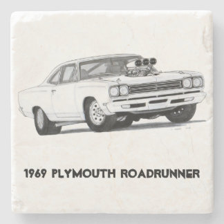1969 Plymouth Roadrunner stone coaster