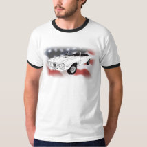 1969 Pontiac Firebird over USA flag T-Shirt