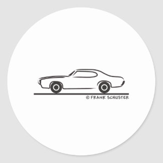 1969 Pontiac GTO Coupe Classic Round Sticker