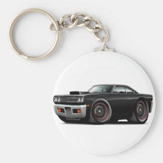 1969 Roadrunner Black-Black Hood Scoop Car Basic Round Button Keychain