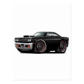 1969 Roadrunner Black-Black Hood Scoop Car Postcard