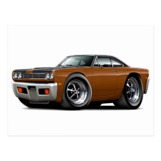 1969 Roadrunner Brown-Black Hood-Top Car Postcard