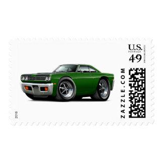 1969 Roadrunner Green-Black Hood Car Postage Stamp