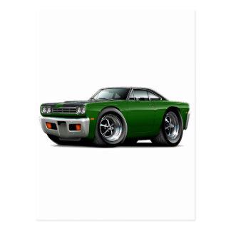 1969 Roadrunner Green-Black Hood-Top Car Postcard