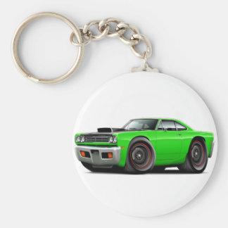 1969 Roadrunner Lime-Black Hood Scoop Car Basic Round Button Keychain