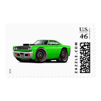 1969 Roadrunner Lime-Black Hood Scoop Car Postage Stamp