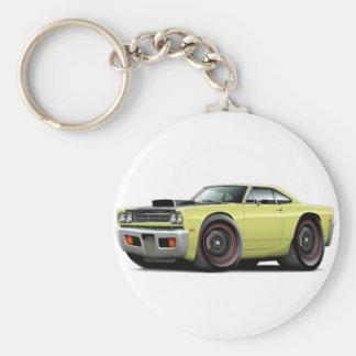 1969 Roadrunner Lt Yellow-Black Hood Scoop Car Basic Round Button Keychain
