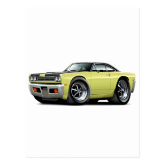 1969 Roadrunner Lt Yellow-Black Hood-Top Car Postcard