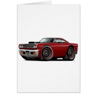1969 Roadrunner Maroon-Black Hood Scoop Car Card