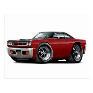 1969 Roadrunner Maroon-Black Hood-Top Car Postcard