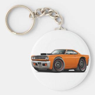 1969 Roadrunner Orange-Black Hood Scoop Car Basic Round Button Keychain