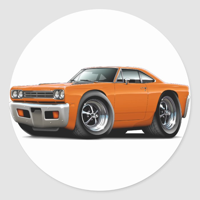 1969 Roadrunner Orange Car Classic Round Sticker