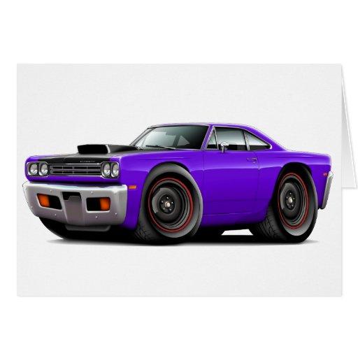 1969 Roadrunner Purple-Black Hood Scoop Car Card