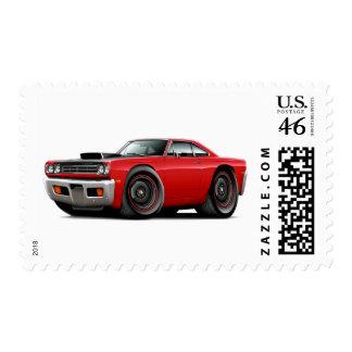 1969 Roadrunner Red-Black Hood Scoop Car Postage Stamp