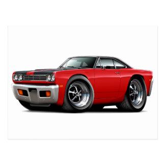 1969 Roadrunner Red-Black Hood-Top Car Postcard