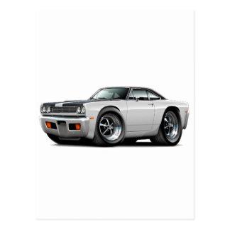 1969 Roadrunner White-Black Hood-Top Car Postcard