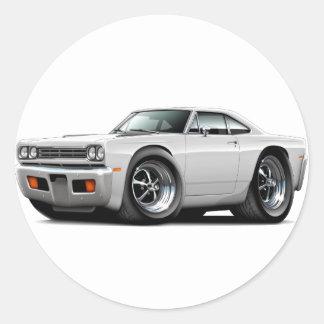 1969 Roadrunner White Car Round Stickers
