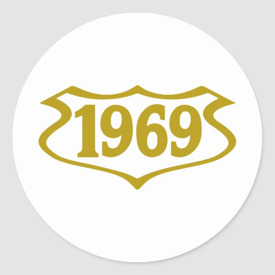 1969-shield.png classic round sticker