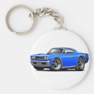 1969 Super Bee Blue-Black Double Scoop Hood Basic Round Button Keychain