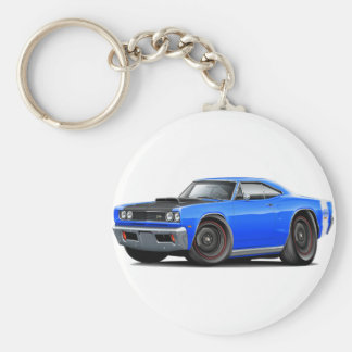1969 Super Bee Blue-White Stock Wheels Keychain