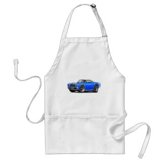 1969 Super Bee Blue-White Top Double Scoop Hood Adult Apron