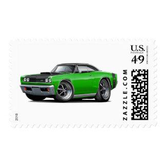 1969 Super Bee Green-Black Top Car Stamp