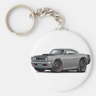 1969 Super Bee Grey-Black Stock Wheels Keychain