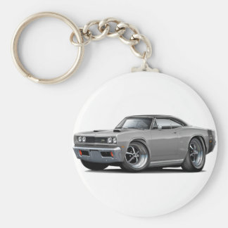 1969 Super Bee Grey-Black Top Double Scoop Hood Basic Round Button Keychain
