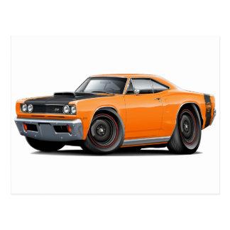 1969 Super Bee Orange-Black Stock Wheels Postcard