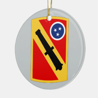196th Field Artillery Brigade Double-Sided Ceramic Round Christmas Ornament