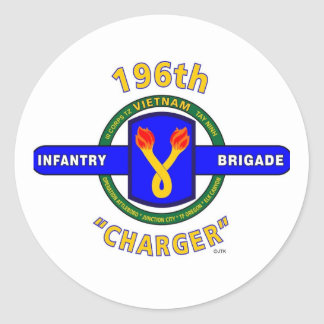 "196TH INFANTRY BRIGADE ""CHARGER"" VIETNAM CLASSIC ROUND STICKER"
