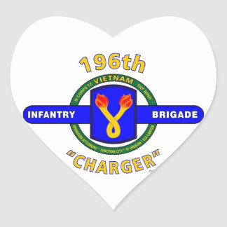 "196TH INFANTRY BRIGADE ""CHARGER"" VIETNAM HEART STICKER"