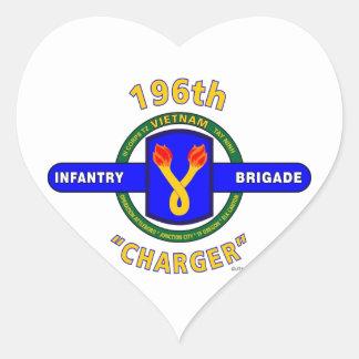 "196TH INFANTRY BRIGADE ""CHARGER"" VIETNAM HEART STICKER"