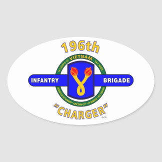 """196TH INFANTRY BRIGADE """"CHARGER"""" VIETNAM OVAL STICKER"""
