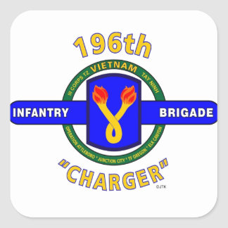 """196TH INFANTRY BRIGADE """"CHARGER"""" VIETNAM SQUARE STICKER"""