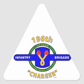 """196TH INFANTRY BRIGADE """"CHARGER"""" VIETNAM TRIANGLE STICKERS"""