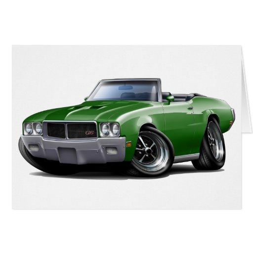 1970-72 Buick GS Green Convertible Greeting Cards