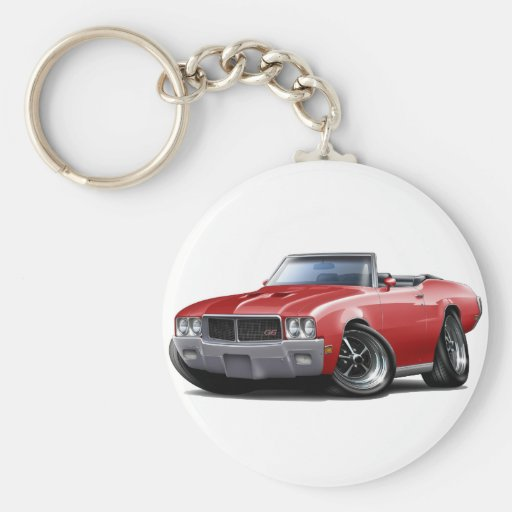1970-72 Buick GS Red Convertible Basic Round Button Keychain