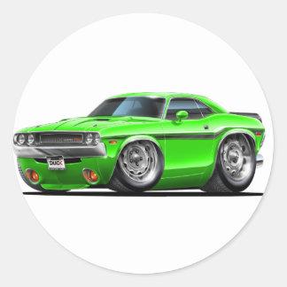 1970-72 Challenger Green Car Classic Round Sticker