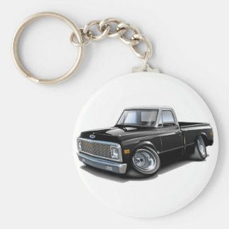 1970-72 Chevy C10 Black-White Top Truck Keychain