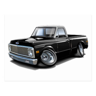 1970-72 Chevy C10 Black-White Top Truck Postcard