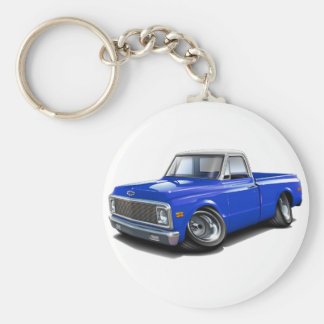 1970-72 Chevy C10 Blue-White Top Truck Keychain