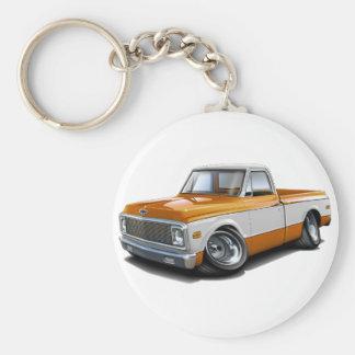 1970-72 Chevy C10 Orange-White Truck Basic Round Button Keychain