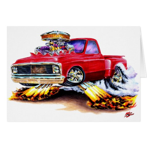 1970-72 Chevy C10 Red Truck Greeting Cards