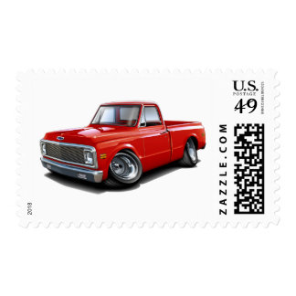 1970-72 Chevy C10 Red Truck Postage