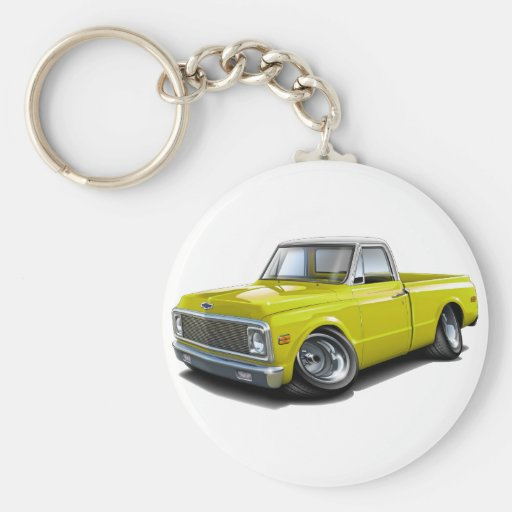 1970-72 Chevy C10 Yellow-White Top Truck Basic Round Button Keychain