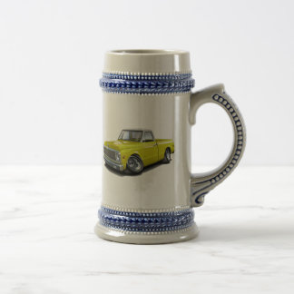 1970-72 Chevy C10 Yellow-White Top Truck Beer Stein