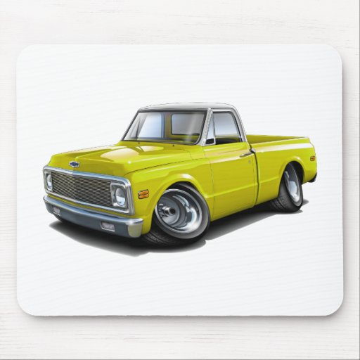 1970-72 Chevy C10 Yellow-White Top Truck Mouse Pad