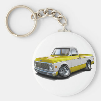 1970-72 Chevy C10 Yellow-White Truck Keychain