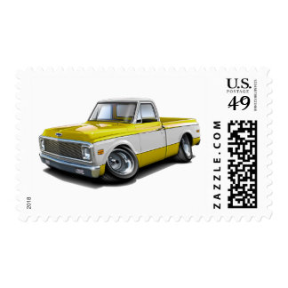 1970-72 Chevy C10 Yellow-White Truck Postage Stamp